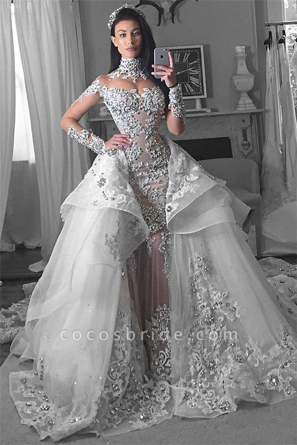 Glamorous Long Sleeves Tulle High Neck Appliques Wedding Dresses with Detachable Overskirt