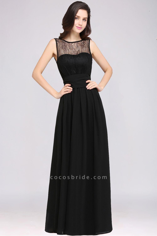 A-Line Chiffon Lace Jewel Sleeveless Keyhole Floor-Length Bridesmaid Dresses