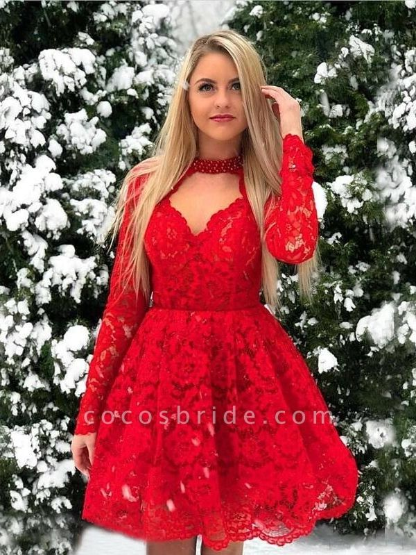 Short A-line Lace Red Long Sleeves Prom Dresses