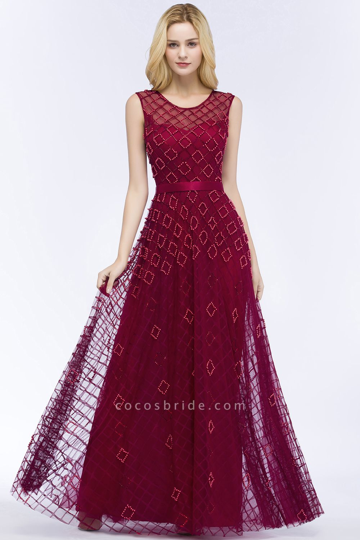 Beading A-Line Scoop Sleeveless Long Evening Dress
