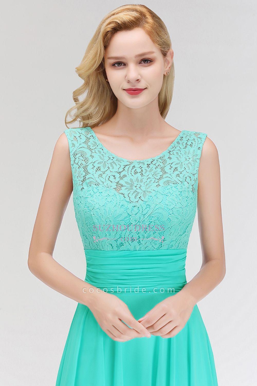 A-line Lace Top Sleeveless Chiffon Floor Length Bridesmaid Dress