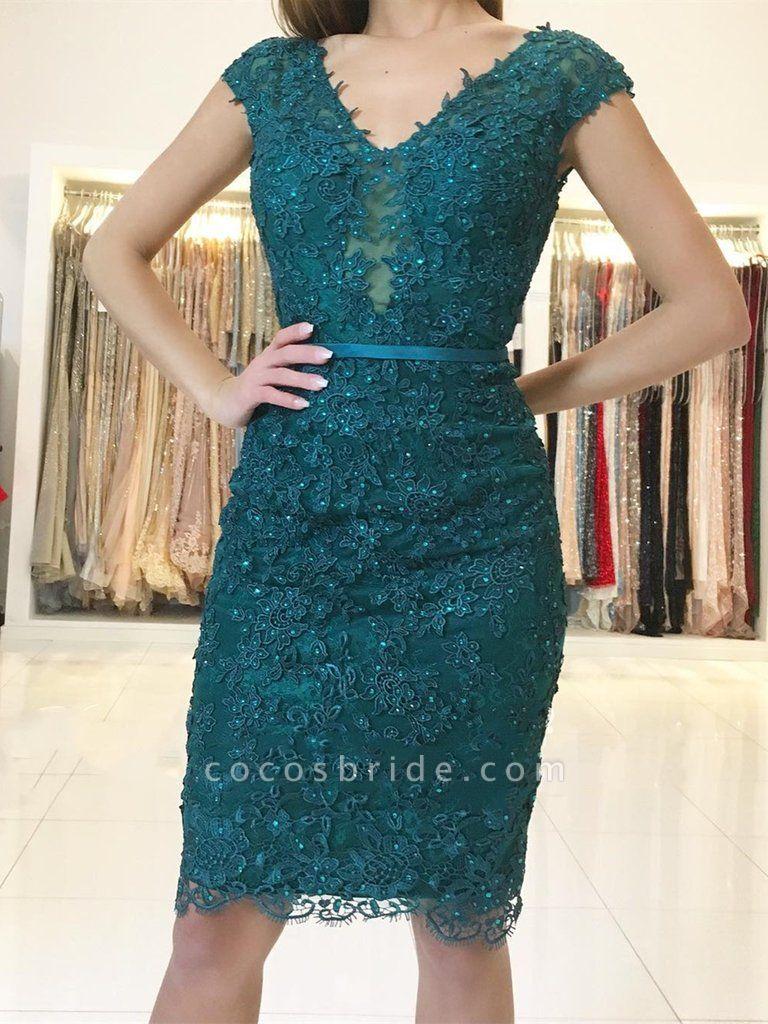 Elegant Short Sheath Lace Green V-neck Prom Dresses