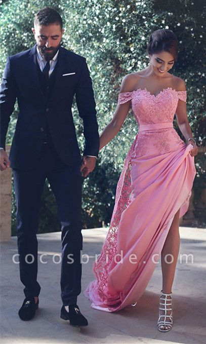 Chic Long A-Line Off-the-Shoulder Lace Prom Dresses