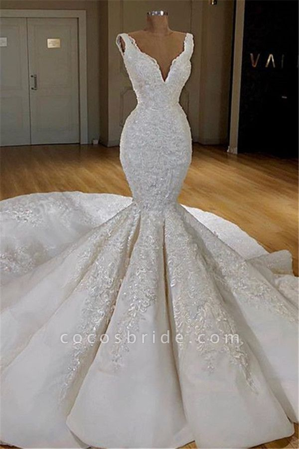 Strap Mermaid Lace Long Train Wedding Dress