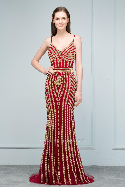 Spaghetti Straps V-neck Mermaid Prom Dresses