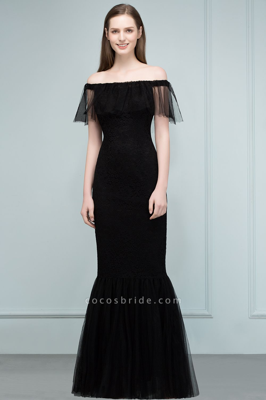 Off The Shoulder Black Mermaid Prom Dress