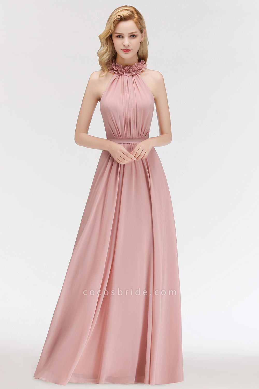 A-line Halter Sleeveless Ruffled Chiffon Bridesmaid Dresses