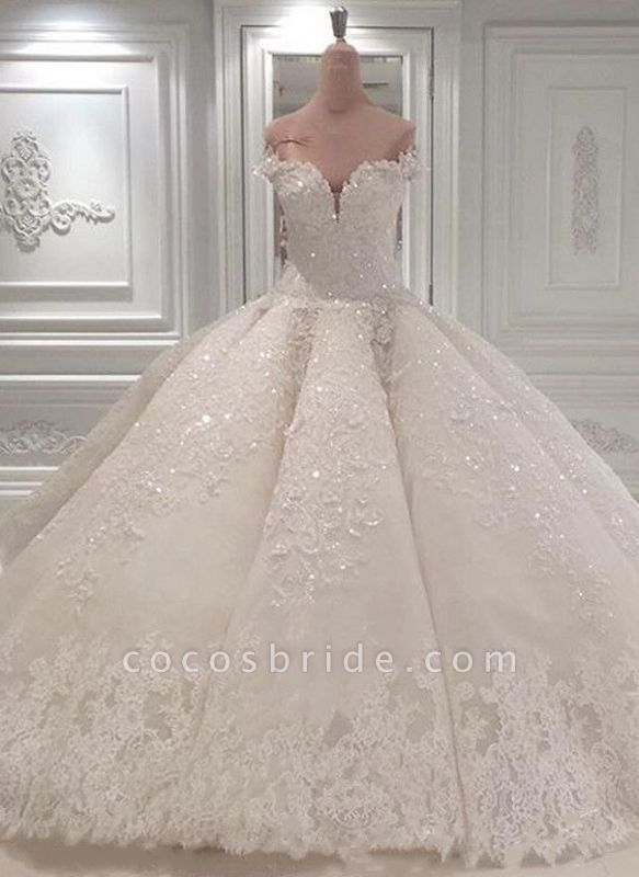BC0388 Gorgeous Off The Shoulder Beadings Ball Gown Wedding Dress