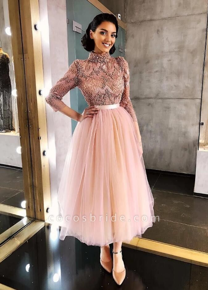 Elegant Pink Tea-length Prom dresses with lace sleeves
