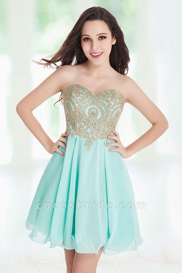 A-Line Strapless Short Chiffon Prom Dresses with Beadings