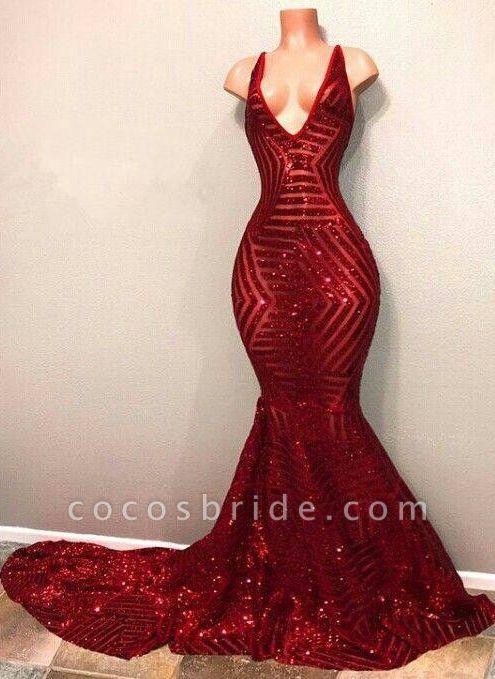 BA7779 Red Sequins V-Neck Mermaid Long Burgundy Prom Dresses