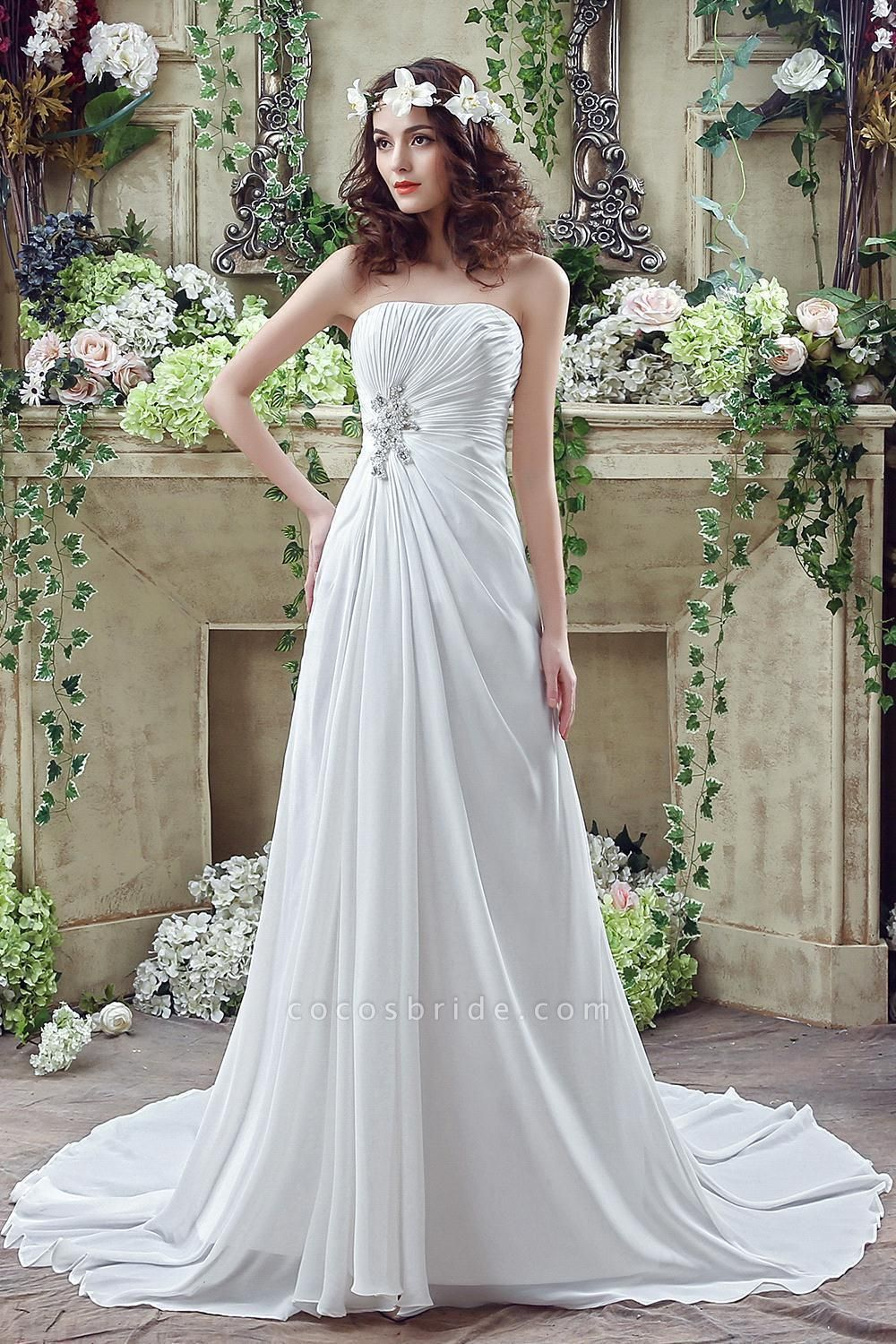 A-line Strapless Beadings Pleated Wedding Dress