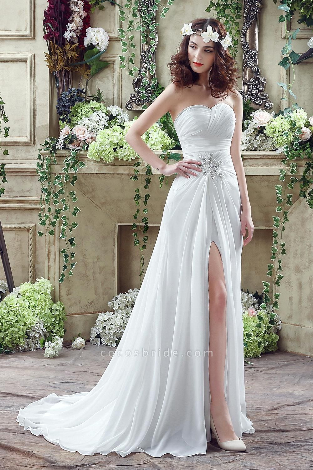 Chiffon Sweetheart Side Split Wedding Dress