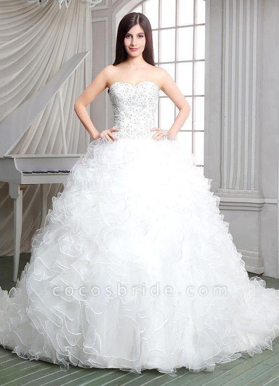 Strapless Ruffles Beadings Sweetheart Sleeveless Wedding Dress