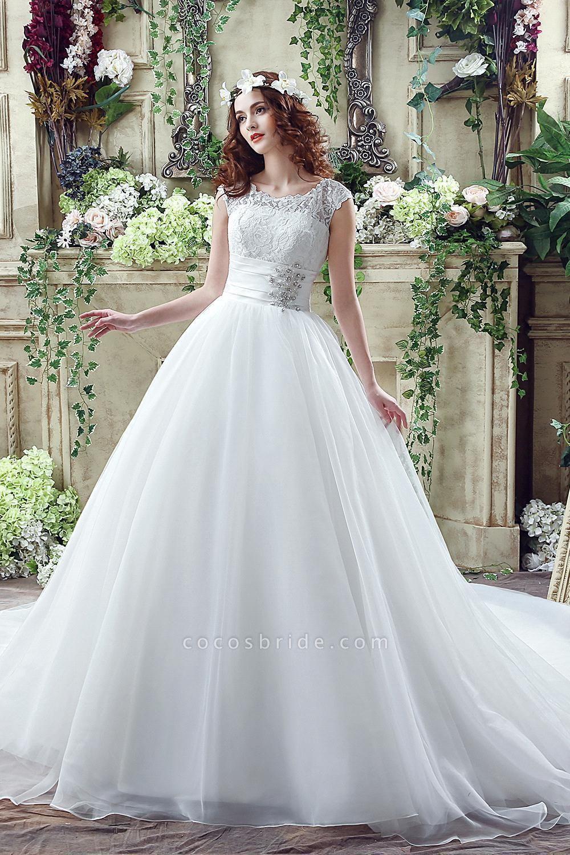 Cap Sleeve Illusion Lace Beadings Wedding Dress