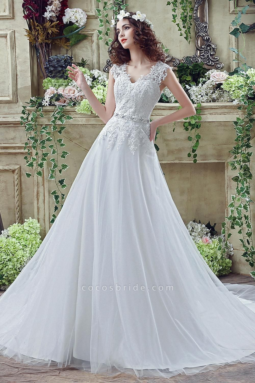 Lace Sheath Backless Cap Sleeves Wedding Dresses with Appliques