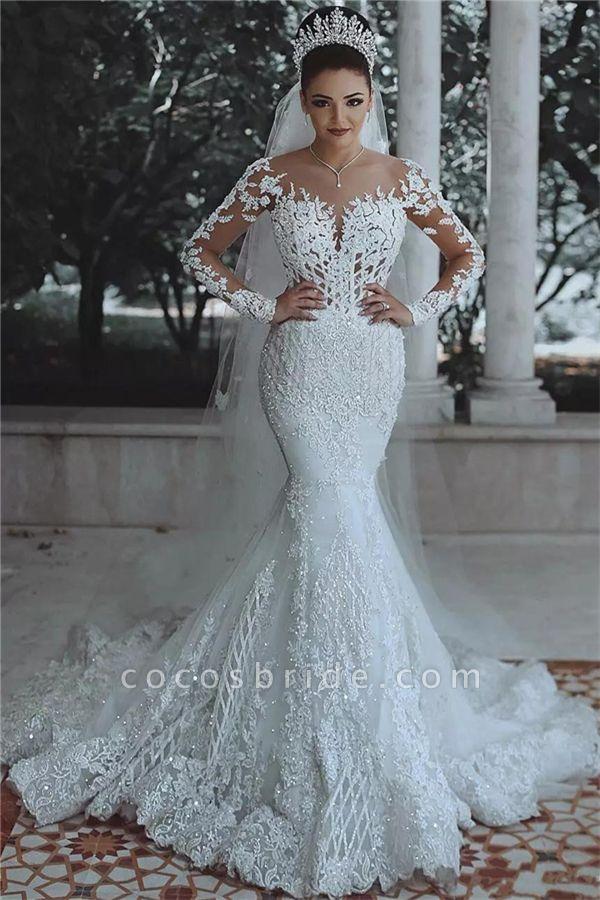 Luxury Beaded Lace Mermaid Sheer Tulle Wedding Dresses with Sleeves