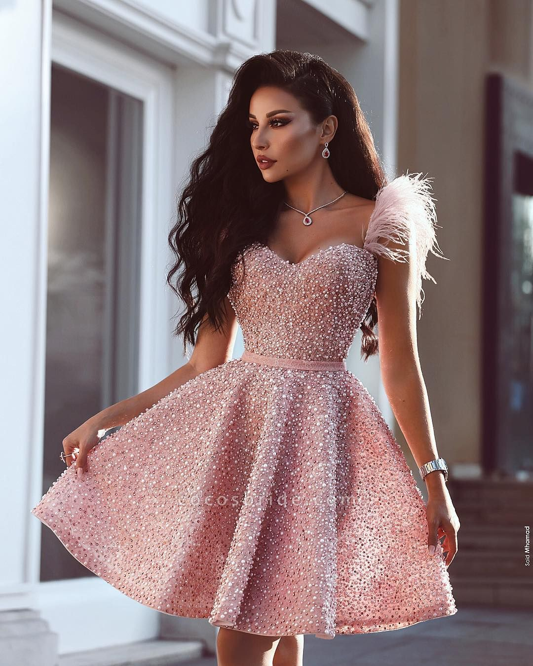 Luxury Pink Short A Line Homecoming Dresses