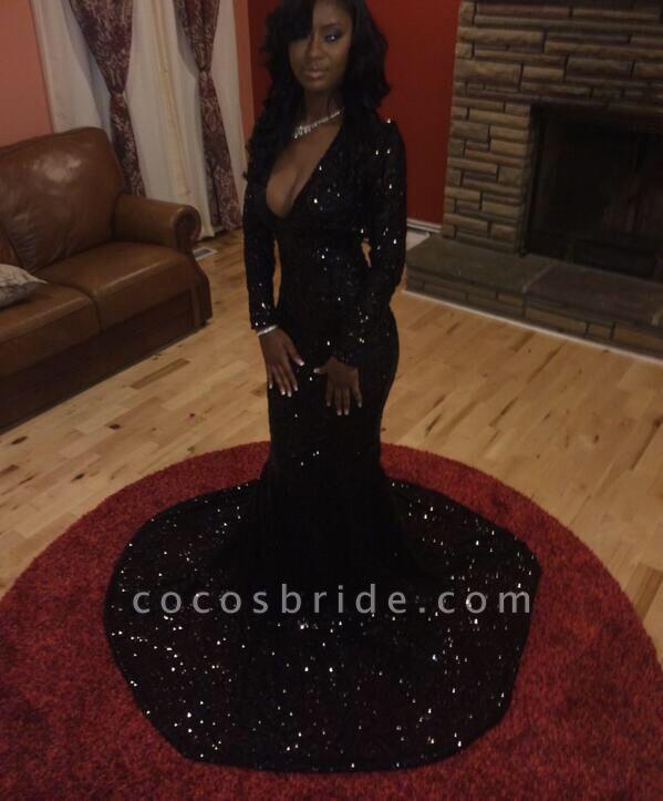 Sparkly Sequins Long Sleeve Deep V-Neck Black Prom Dresses