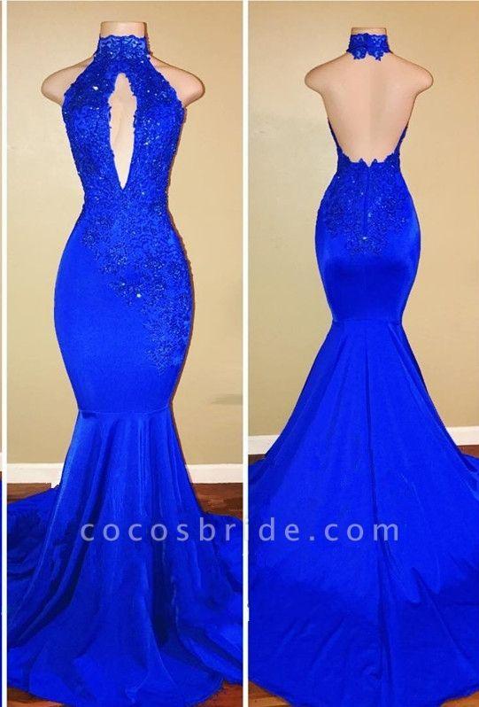SALLY | Mermaid Floor Length Halter Keyhole Neckline Sequined Prom Dresses