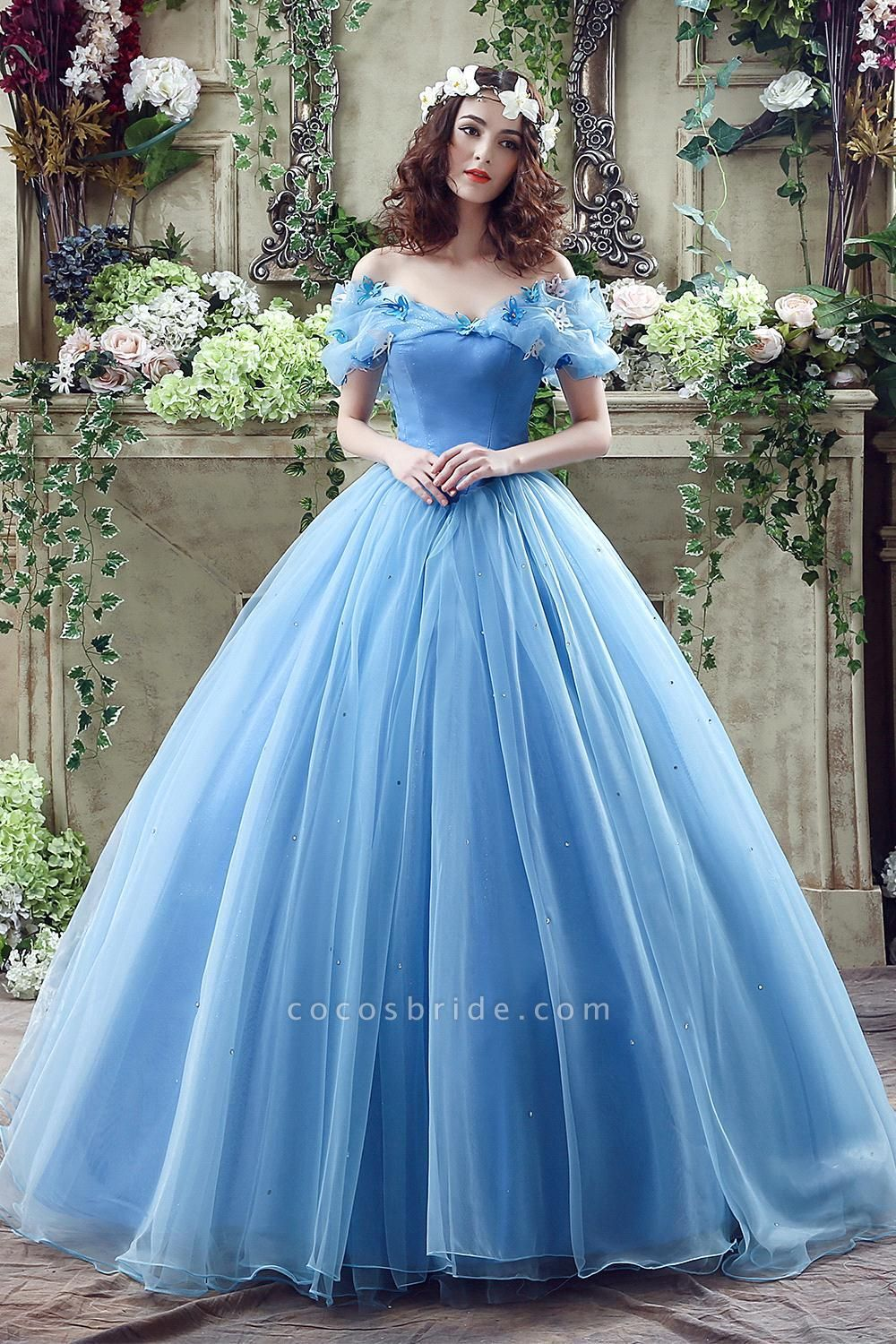 Off-the-Shoulder Sequins Tulle Blue Ball Gown Wedding Dress