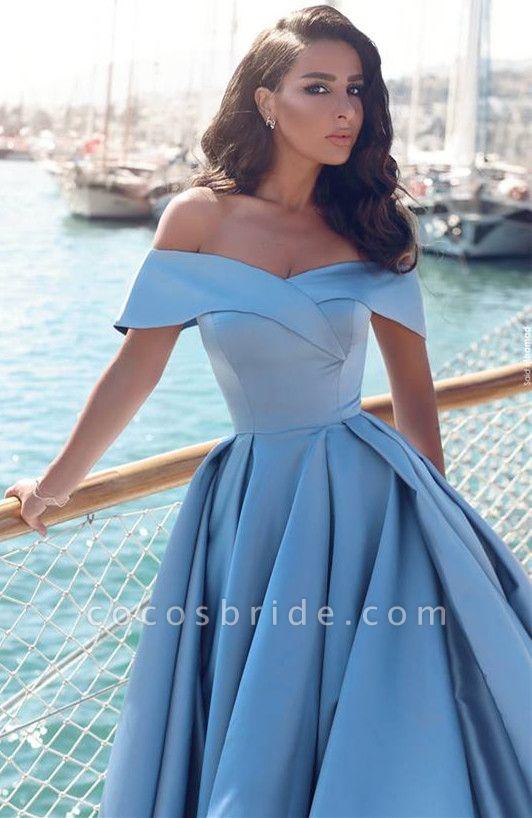 TORRIE | Ball Gown Off-shoulder Floor Length Blue Prom Dresses