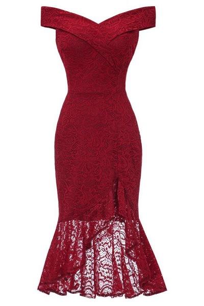 Lace Off the Shoulder V-Neck Mermaid Red Dress
