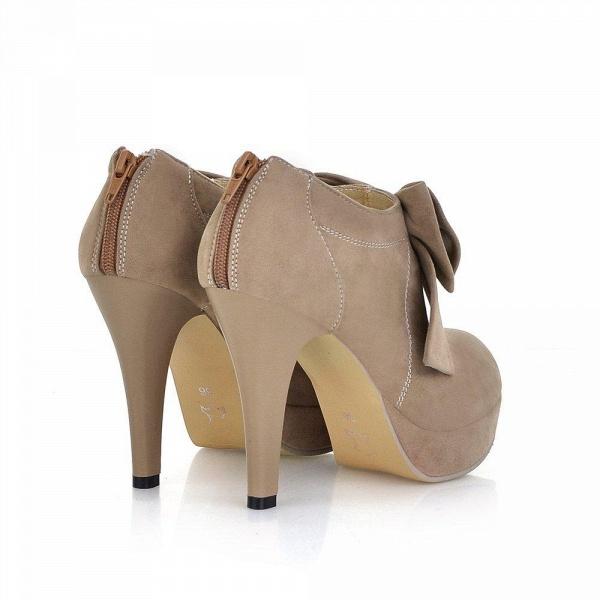 Round Toe Bowtie Hollow Stiletto Heel Women's Boots_8