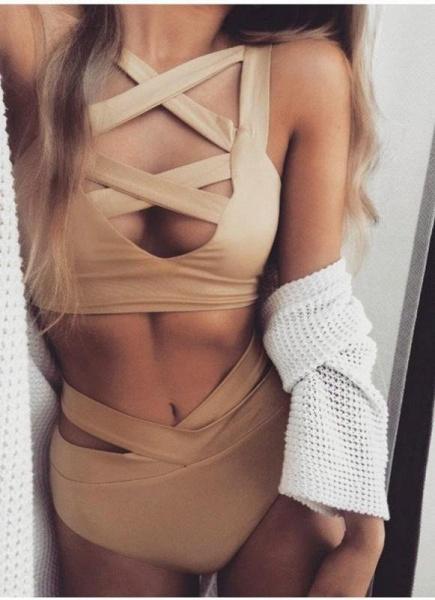 Sexy Cut Out Deep V Neck High Waist Bandage Women's Bikini_3