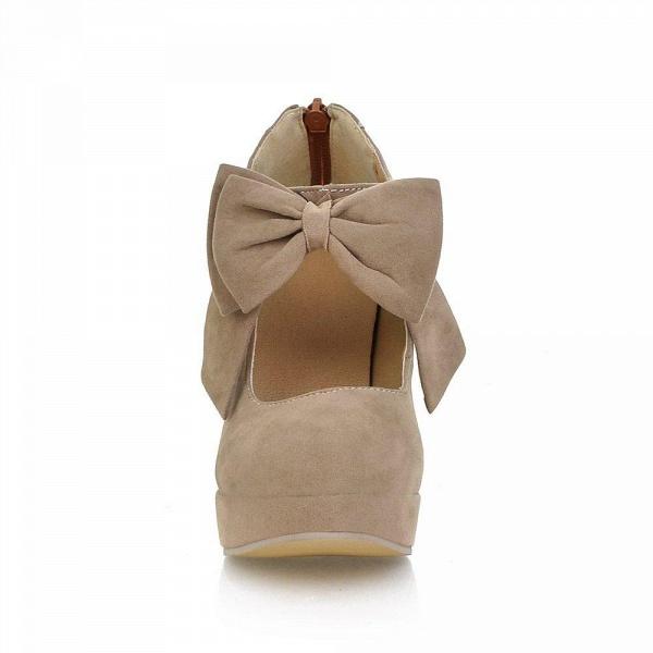 Round Toe Bowtie Hollow Stiletto Heel Women's Boots_9