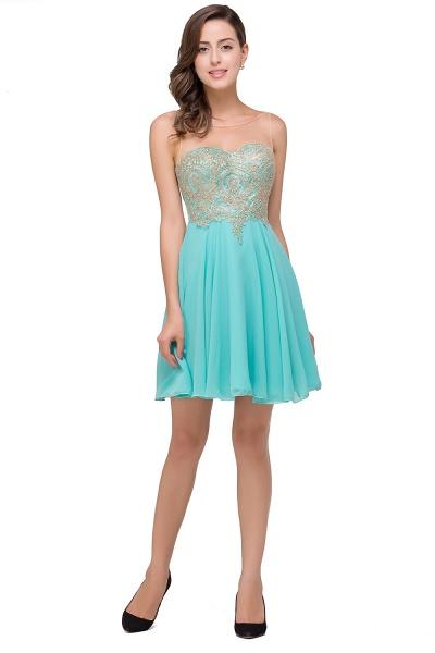 Appliques Elegant Short Sleeveless Chiffon Prom Dresses_8