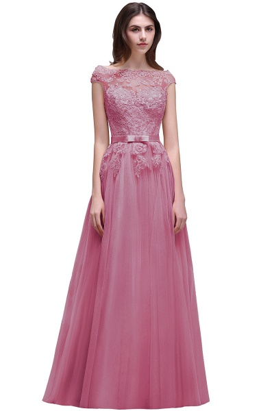 A-line Floor-Length Tulle Bridesmaid Dress With Lace Appliques_2