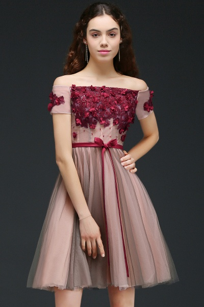 Sleek Off-the-shoulder Tulle A-line Homecoming Dress_1
