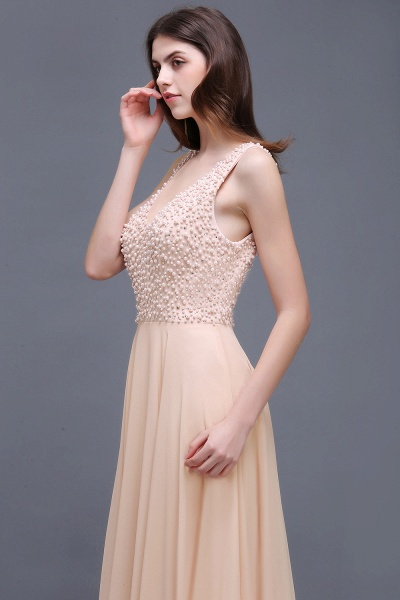 ALANA | Sheath Sheer Chiffon Long Evening Dresses With Pearls_4