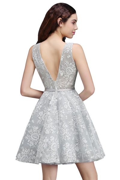 ALEAH | A Line Strtaps Lace Cocktail Homecoming Dresses With Sash_4