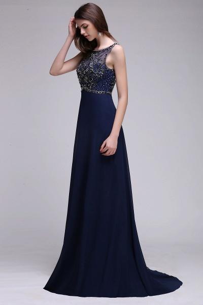 CALI | A-line Long Chiffon Dark Navy Vintage Prom Dresses with Rhinestones_5