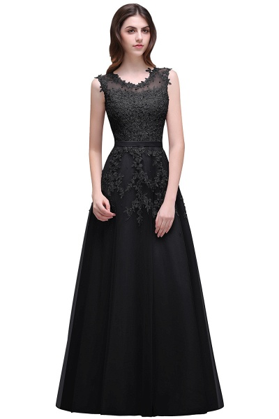 Beautiful V-neck Tulle A-line Evening Dress_7