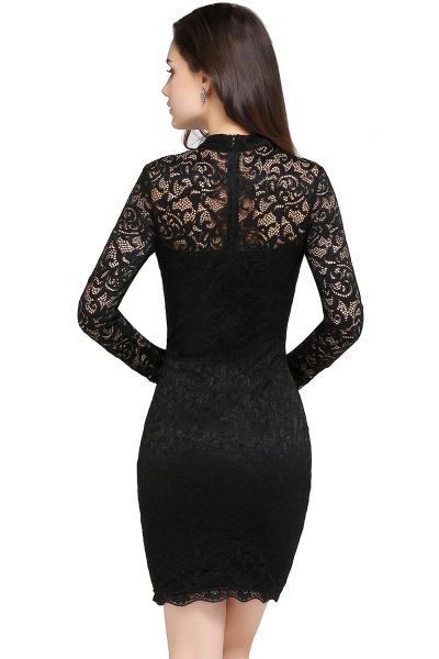 ARYANNA | Sheath High Neck Short Black Lace Cocktail Dresses_3