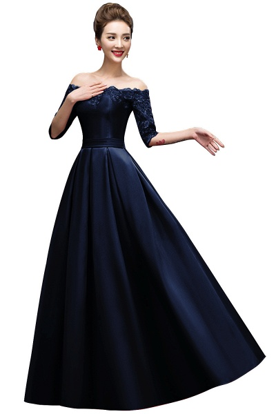 Elegant Off-the-shoulder Satin A-line Evening Dress_3