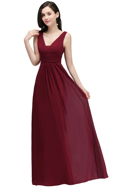 V-neck Chiffon Column Floor Length Bridesmaid Dress_4