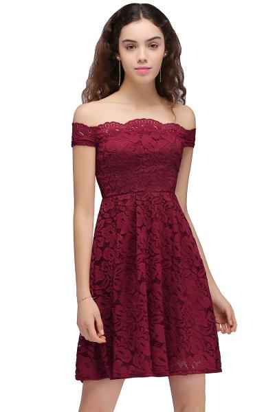 Burgundy Off-the-shoulder Lace Cheap Party Dresses_1