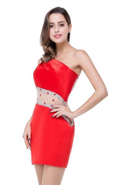 ELLE | Mermaid One-shoulder Short Prom Dresses with Crystal Beadings_14
