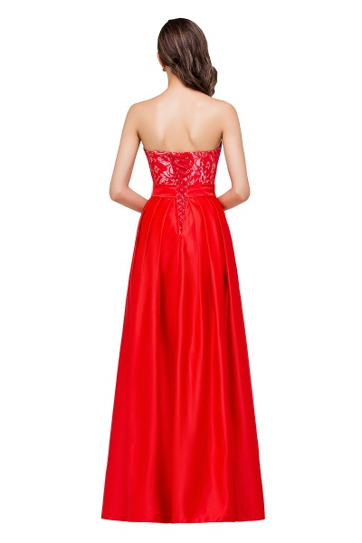 EVERLY | A-line Sleeveless Sweetheart Floor-Length Red Chiffon Prom Dresses_3