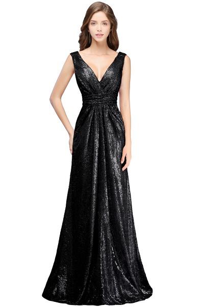 Beautiful V-neck Sequined A-line Evening Dress_1