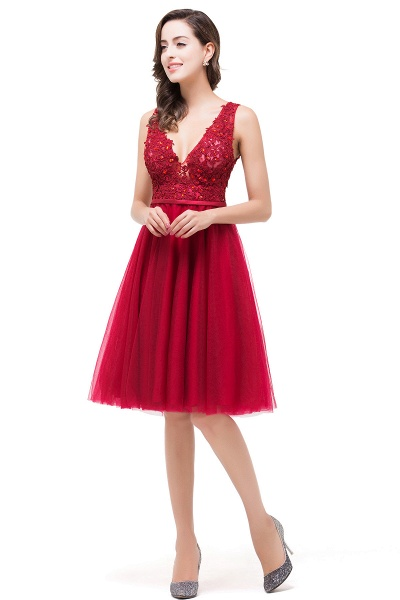 EVIE   A-Line Deep-V Neck Sleeveless Short Prom Dresses with Appliques_5