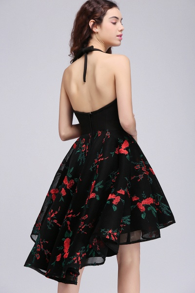 ALINA | A Line Jewel Black Hi-lo Cocktail Party Dresses With Print_4