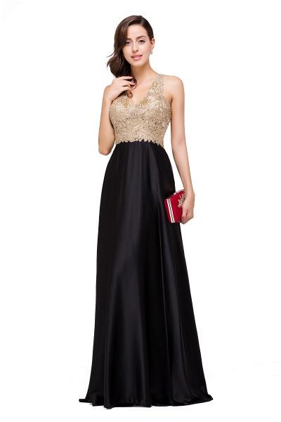 EMMALINE | A-Line Floor-Length V-neck Appliques Prom Dresses_9