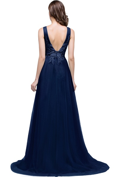 A-line Tulle Appliques Court Train Evening Dress_6