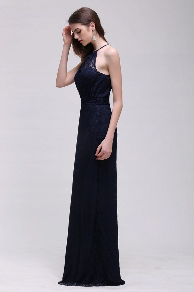 CHARLEE | Column Floor length Halter Navy blue Prom Dress_9