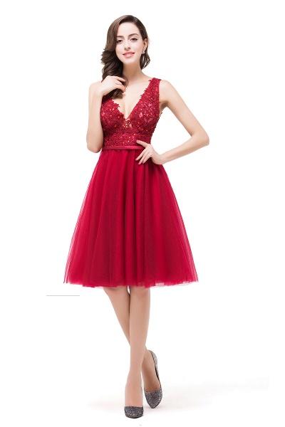 EVIE   A-Line Deep-V Neck Sleeveless Short Prom Dresses with Appliques_7